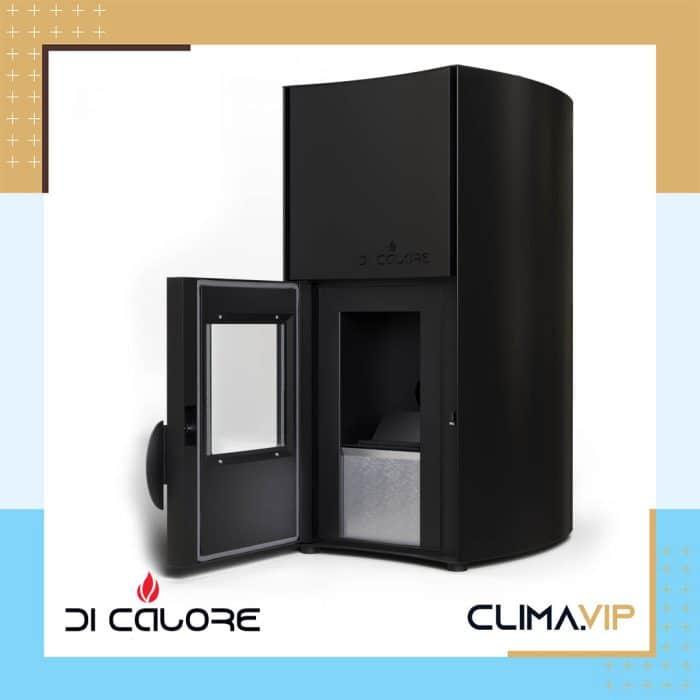 Пелетна камина Di Calore 25kW с водна риза Черна